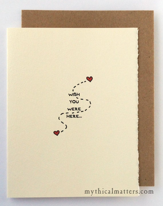 Wish You Were Here Miss You Greeting Card Cute Adorable Valentine Sentiment 100% recycled paper made in Canada Toronto Love Long Distance
