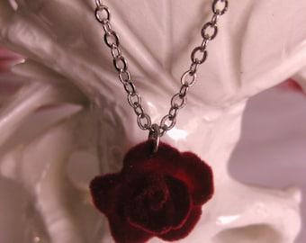 Vintage Red Rose Necklace romantic jewelry rose jewelry flower necklace romantic gift romantic necklace feminine necklace handmade velvet
