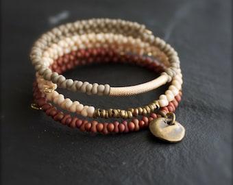 Beaded Wrap Cuff Bracelet Set - Bone White, Tan Putty, Rust Red - Bronze Coin, Boho Jewelry