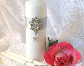 Wedding Candle Crystal Unity Candle Brooch Unity Candle Rhinestone Unity Candle Ivory Unity Candle Bling Unity Candle Color & Ribbon Choice