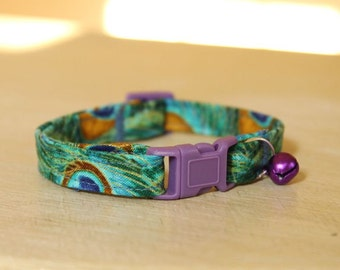 Peacock Green Cat Collar with Purple Jingle Bell