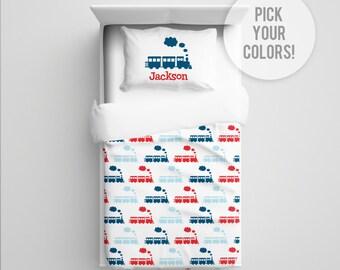 Train Bedding, Train Comforter/Duvet, Train Blanket, Train Nursery Bedding, Toddler Train Bedding, Train Crib Bedding, Pick Your Color