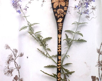 1 custom flower moth 10 inch wood burned hand drawn artist decorated serving spoon by burned furniture