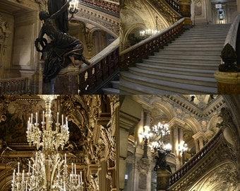 Paris Photography, Opera House Print Set, Paris Opera Garnier, Paris Opera Staircase, Paris Chandelier Prints, Paris Opera House Photography