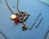 Dreamy Holiday Secret Garden - Necklace - Features A Tiny Vintage Locket - Antiqued Brass Necklace, Key Charm