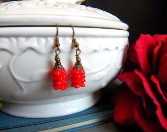 Red Flower - Earrings - Vintage Red Glass Flower Charms - Adorable Darlings - Keepsake Jewelry by HoneyNest