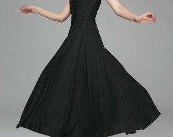 Black dress,maxi dress,womens dresses,Boat neck dress, sleeveless dress,Linen Dress,prom dress,party dress,LBD,floor length dress,Gift 1395