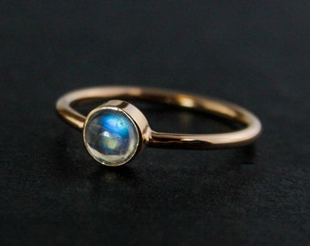 Rainbow Moonstone Ring - Dainty Ring - June Birthstone, Silver, Gold, Rose Gold