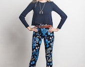 Thistle Leggings in Pale Pink, Bright Blue and Gold on Black