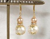 Blush Champagne & Ivory Pearl Clear Rhinestone Gold Leaf Bridal Bridesmaid Drop Dangle Earrings, Vintage Modern Rustic Wedding Jewlery Gifts