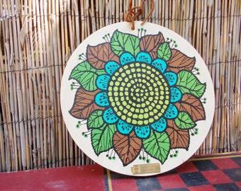 Mod Vintage Stylized Sunflower Cutting Board Made in Yugoslavia