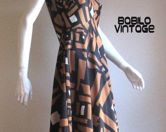 70s vintage graphic maxi dress medium