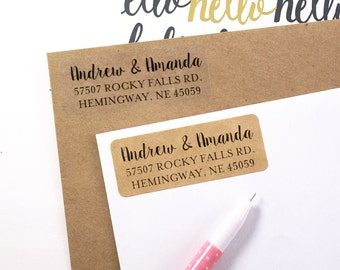 Custom rubber STAMP or printed address labels with modern calligraphy & print font - 2 5/8 x 1 custom labels
