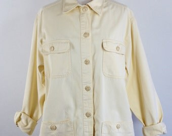 Vintage 90s Womens Pastel Yellow Heavy Duty Cotton Artist Work Shirt Jacket