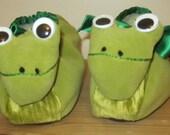 Green Frog Head Slippers,Unisex Moleskin Footwear,Cream Poodle Fur Linings,Ladies UK Size 2-3,Warm Unisex Slipper,Easter Gift,Easter Present