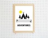 Digital Download Adventure Camping Printable Art A4