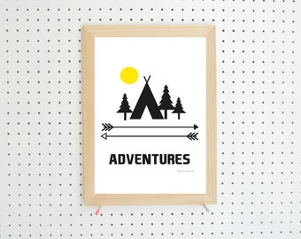 Digital Download Adventure Camping Printable Art A4