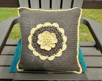 Brown Crochet Pillow Cover Big Yellow Flower Handmade Reversible, Throw Pillow Case 18 in Square