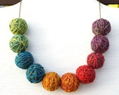 Big ball necklace, Statement necklace, Colorful jewelry, Rainbow necklace, Fun necklace, Fiber art, Knitter's gift, Ombre Bib Necklace