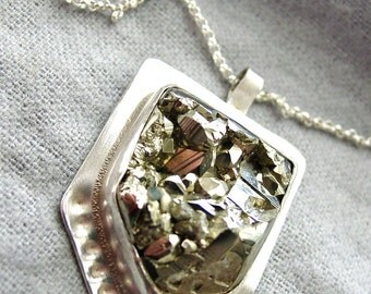 Pyrite Pendant Necklace Sterling Silver