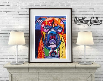 DIGITAL Print File - Boxer Dog art dog  Art Print Poster by Heather Galler Modern Abstract Colorful Dogs (HG214)
