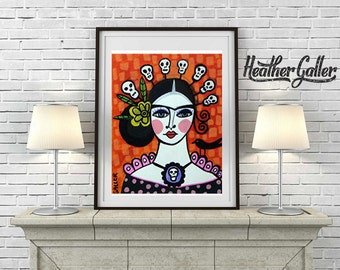 DIGITAL Print File - Mexican Folk Art - Day of the Dead Art  Art Print Poster by Heather Galler Art of Frida Kahlo Painting