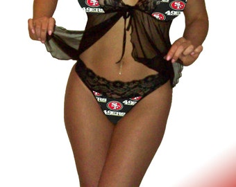 San Francisco 49ers Lace Babydoll Negligee Lingerie Teddy Set - XS Extra Small to L Large - Please READ SIZING Info - Also in White