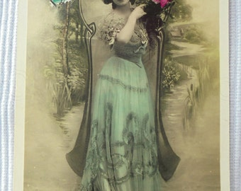 French Antique New Year Postcard - Woman in a Long Turquoise Dress