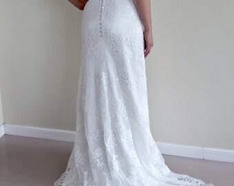 Alencon Lace Wedding Dress, Modified A-line Wedding Dress, Cap Sleeved Wedding Dress, Chapel Train Lace Dress