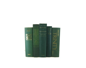 Green Decorative Books ,  Blue Vintage Books ,  Home Decor , Old Books , Vintage Photo Props , Table Setting , Wedding Decor