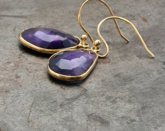 Amethyst Earrings, Gold Dangle Earrings, Purple Drop Earrings, Amethyst Jewelry, Bridesmaid Gifts, February Birthstone, Amethyst Gemstone
