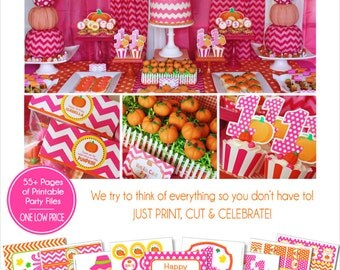 Pumpkin Patch Party Decorations | Pumpkin Party Printable | My Little Pumpkin | Girl Pumpkin | Pink Pumpkin Birthday | Amandas Parties To Go
