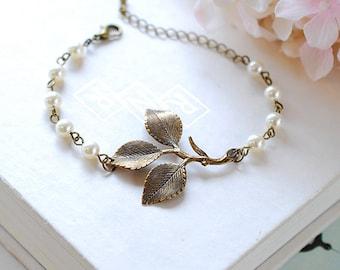 Leaf Bracelet Antiqued Brass Leaf Sprig White Cream Pearls Adjustable Bracelet Woodland Wedding Jewelry Bridal Bracelet mothers day gift