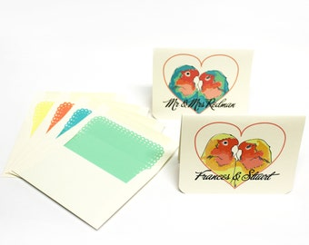Personalized Lovebird Cards - Set of 4  cards with envelopes- gifts for newlyweds, wedding thank you notes, thanks, mr and mrs stationery