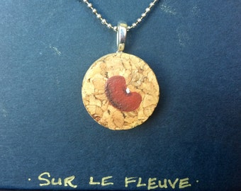 Hand Painted Red Bean Wine Cork Pendant Necklace