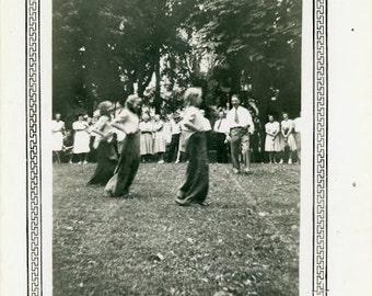 "Vintage Photo ""The Sack Race"" Girl Playing Game Snapshot Old Antique Photo Black & White Photograph Found Paper Ephemera Vernacular - 89"