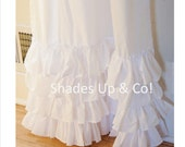 Ruffled White Classic PAIR of Curtain Panels with Four Ruffles Shades Up & Co!