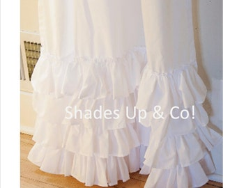 Ruffled White or Pink Classic PAIR of Curtain Panels with Four Ruffles Shades Up & Co!