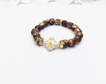 Gold Leaf Ceramic Mala Bracelet with Gold Vermeil Clover Connector