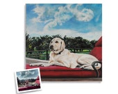 20 x 20 custom dog portrait painting from photo on canvas hand painted golden retriever