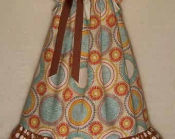 Peasant Double Ruffle Dress / Aqua / Orange / Yellow / Brown / Newborn / Infant / Baby / Girl / Toddler /