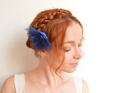 Navy blue organza flower barrette - lotus