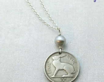 RABBIT necklace - Ireland jewelry - Celtic necklace - Vintage Irish coin - coin necklace - Rabbit pendant - rabbit jewelry - pearl necklace