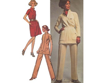 1970s Shift Dress or Tunic and Pants Bust 34 Simplicity 8914 Raised Collar Zipper Front Patch Pockets Designer Fashion Sewing Pattern
