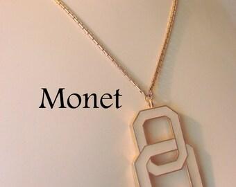80s Modernist Monet Pendant Necklace / Designer Signed / Creamy White / Art Moderne / Jewelry / Jewellery