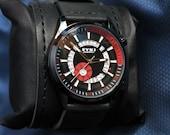 Mens Calendar Watch, Sale, Handmade Leather Watch, Quartz Watch, Valentines Gift, Anniversary Gift, Unisex, GEQL-BD03