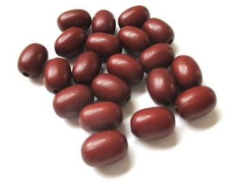 Faux Wood Barrel Beads, 11mm x 7mm Oval Tube Beads, Russet Reddish Brown, Vintage Lucite Beads - 20 Pieces