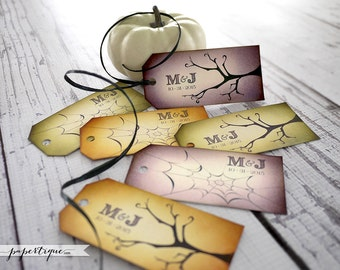 Halloween Wedding Tags - 30 Personalized Halloween Tags + Raffia - Branch & Spider Web Gothic Wedding Favor Tags - Choose your own colors!