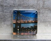 2-inch Square Glass Super Strong Magnet with Photo - New York NYC 59th Street Bridge