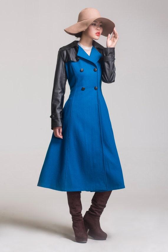winter autumn thick warm blue coat woolen coat long coat cashmere jacket